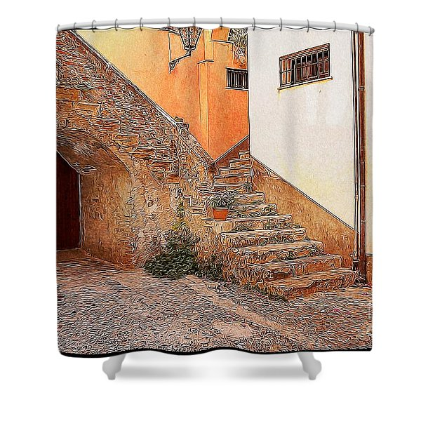 Courtyard Of Old House In The Ancient Village Of Cefalu Shower Curtain