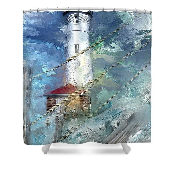 Crisp Point Lighthouse Michigan Shower Curtain