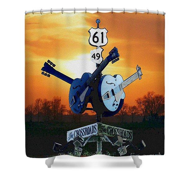 Crossroads Sunset  Blues Highway 61 Shower Curtain