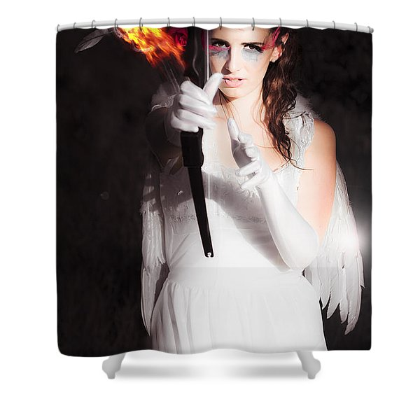 Cupid Angel Of Romance Setting Hearts On Fire Shower Curtain