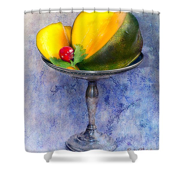 Shower Curtain featuring the photograph Cut Mango On Sterling Silver Dish by Gunter Nezhoda