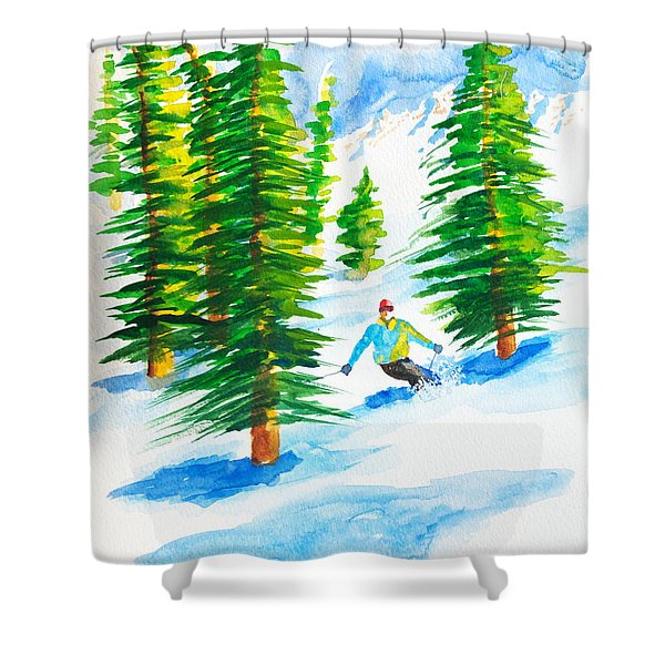David Skiing The Trees  Shower Curtain