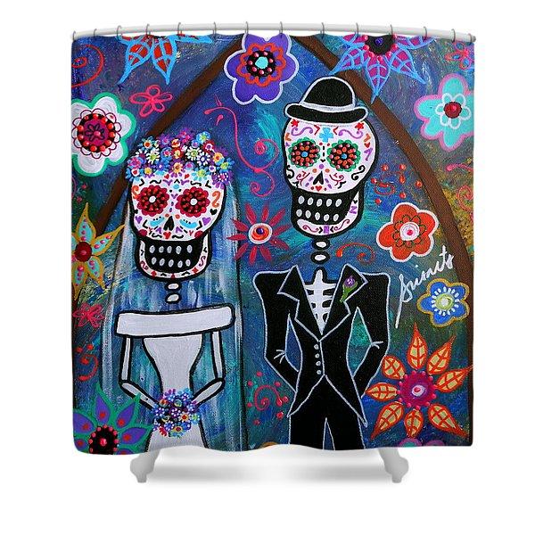 Dia De Los Muertos Wedding Shower Curtain