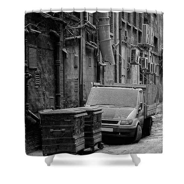 Dirty Back Streets Mono Shower Curtain