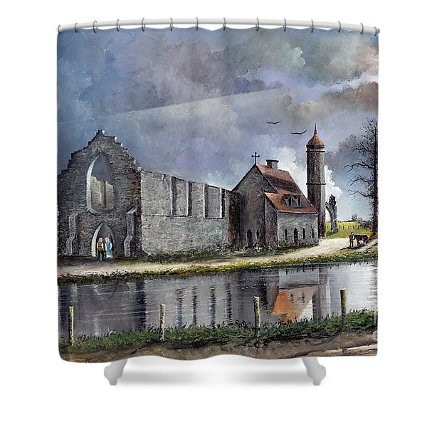 Shower Curtain featuring the painting Dudley Priory C1700s by Ken Wood