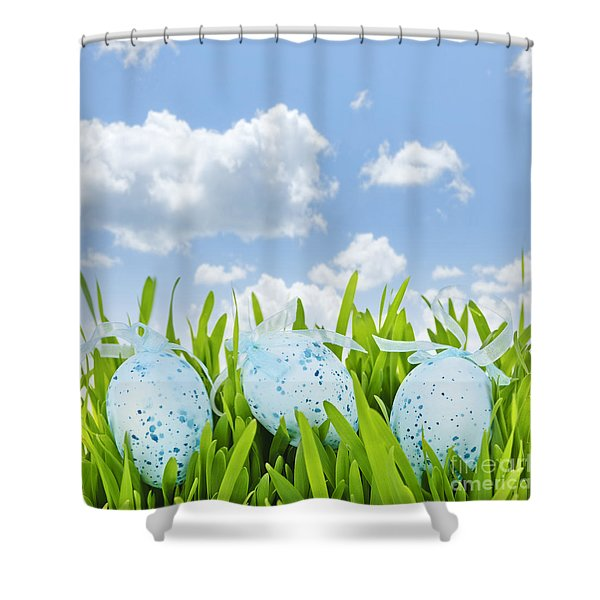 Easter Eggs In Green Grass Shower Curtain