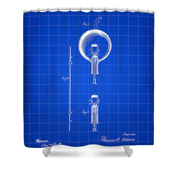 Edison Light Bulb Patent 1880 - Blue Shower Curtain