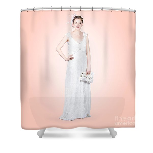 Elegant Bride In White Wedding Dress Shower Curtain