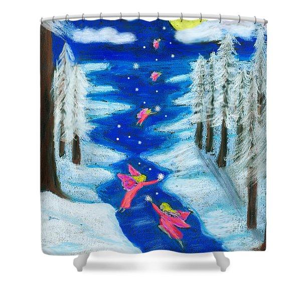 Faery Merry Christmas Shower Curtain