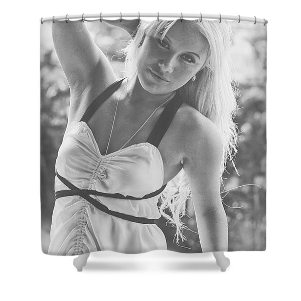 Fashionable Blond Woman Shower Curtain