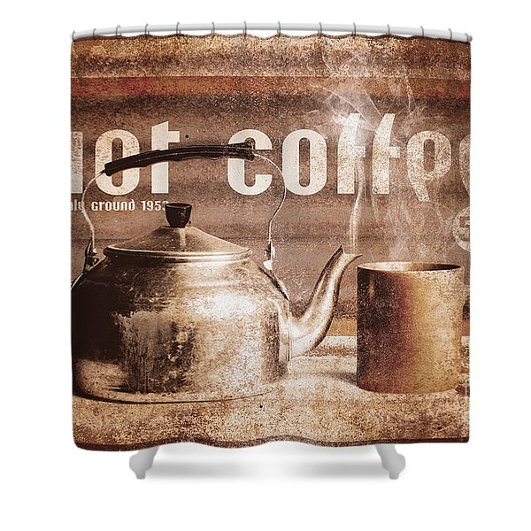 Fine Art Coffee Shop Tin Sign Insignia Shower Curtain