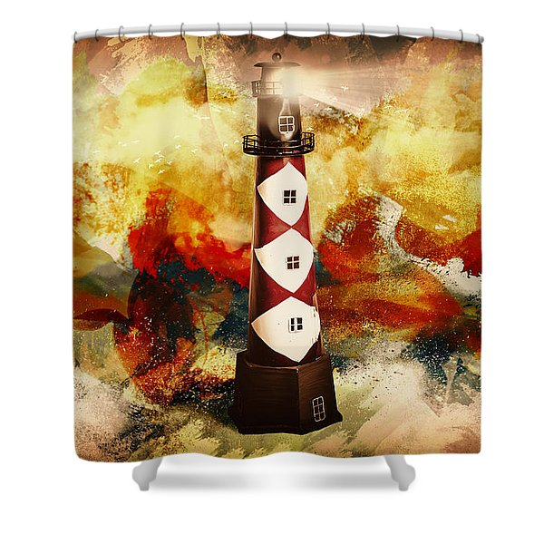 Fire On Lighthouse Hill Shower Curtain