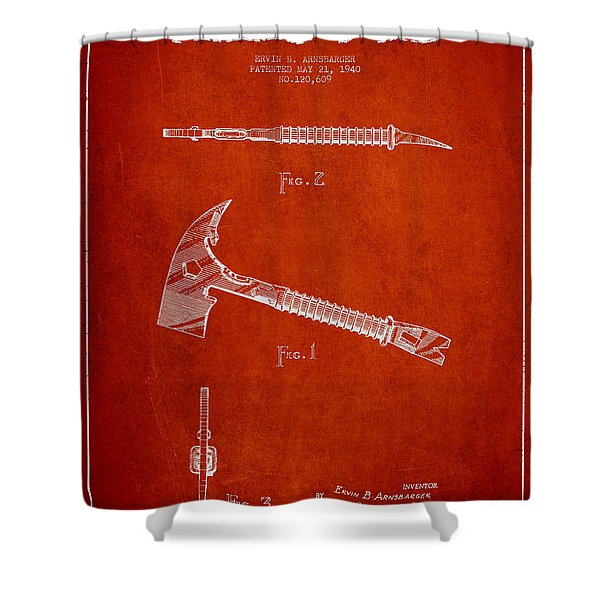Fireman Axe Patent Drawing From 1940 Shower Curtain
