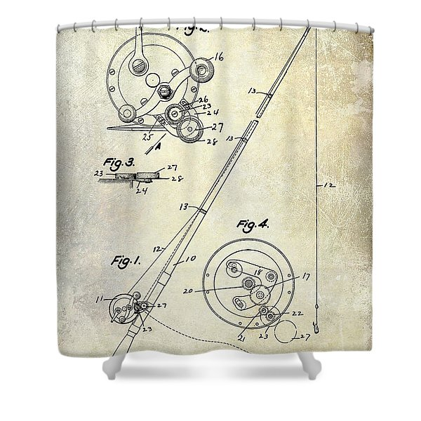 Fishing Reel Patent 1939 Shower Curtain