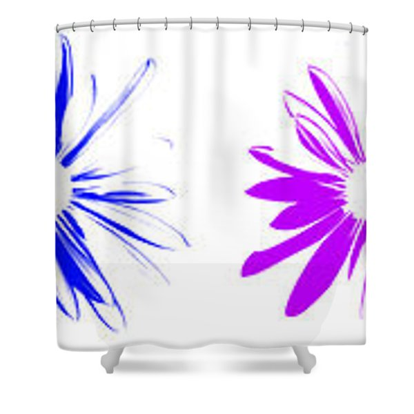 Flowers On White Shower Curtain