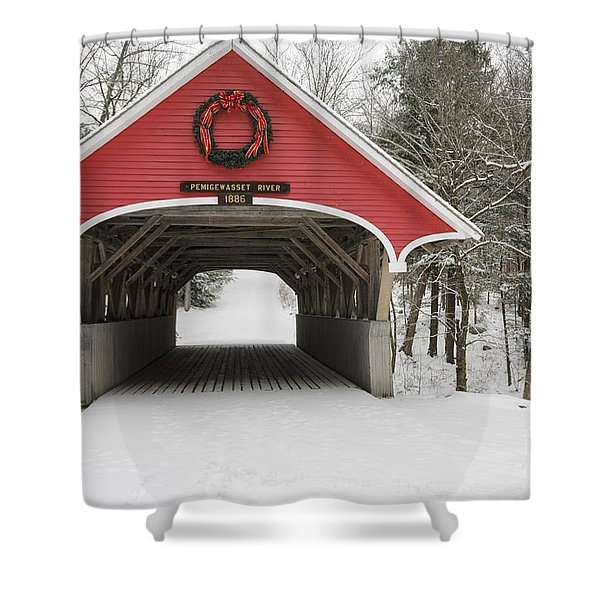 Shower Curtain featuring the photograph Flume Covered Bridge - White Mountains New Hampshire Usa by Erin Paul Donovan