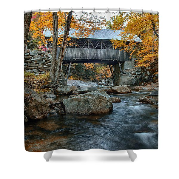 Flume Gorge Covered Bridge Shower Curtain