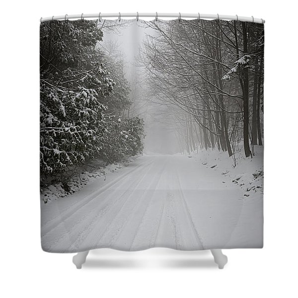 Foggy Winter Road Shower Curtain