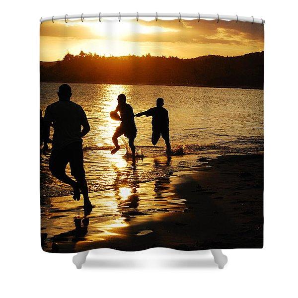 Football Sunset Shower Curtain