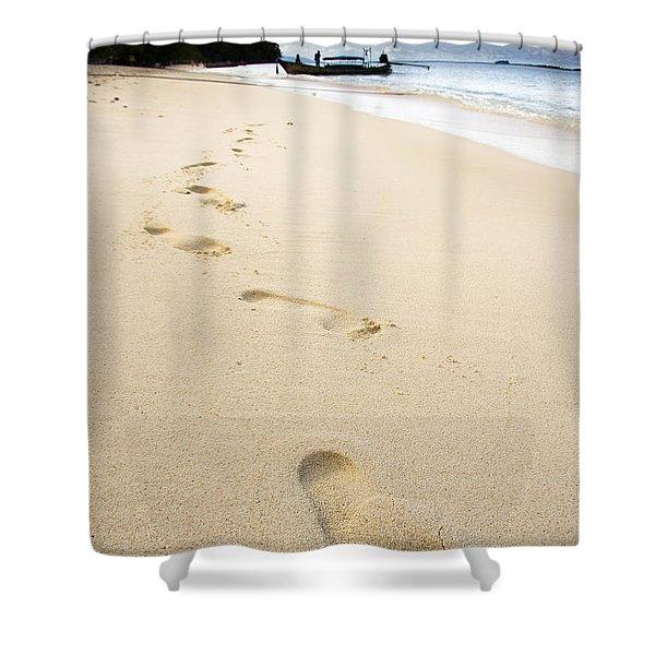 Footprints On Tropical Beach Shower Curtain