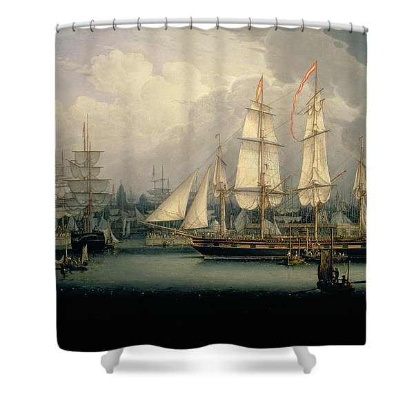 Four-masted Clipper Ship In Liverpool Shower Curtain