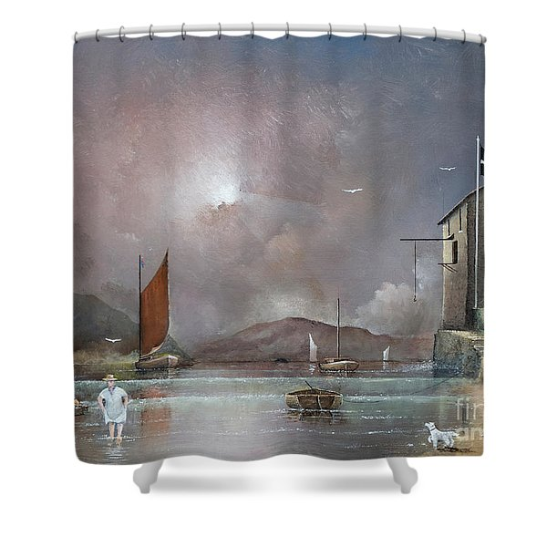 Shower Curtain featuring the painting Fowey - Cornwall by Ken Wood