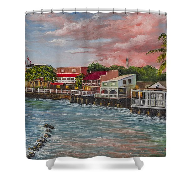 Front Street Lahaina At Sunset Shower Curtain