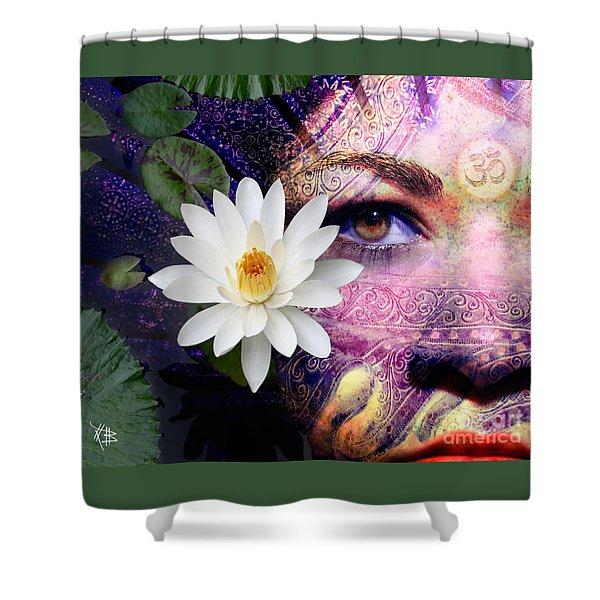 Shower Curtain featuring the digital art Full Moon Lakshmi by Christopher Beikmann
