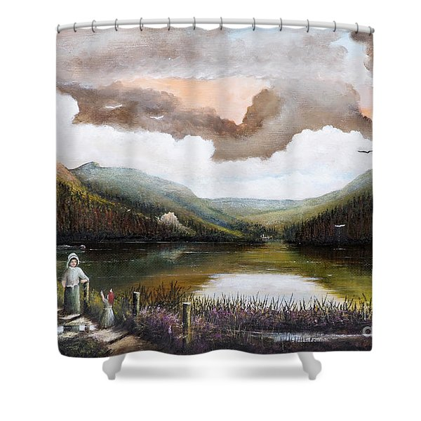 Shower Curtain featuring the painting Glendalough by Ken Wood