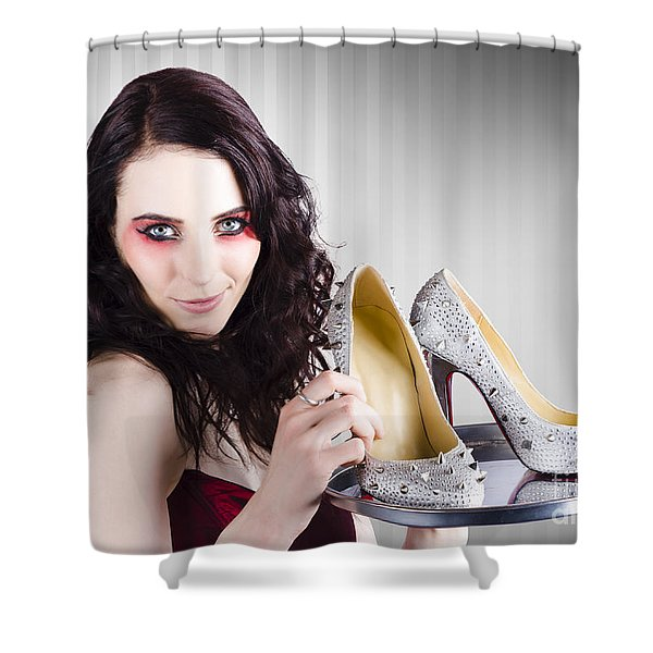 Gorgeous Retail Fashion Girl Selling Luxury Shoes  Shower Curtain
