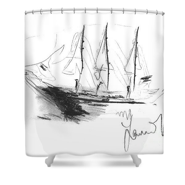 Shower Curtain featuring the drawing Great Men Sailing by Laurie Lundquist