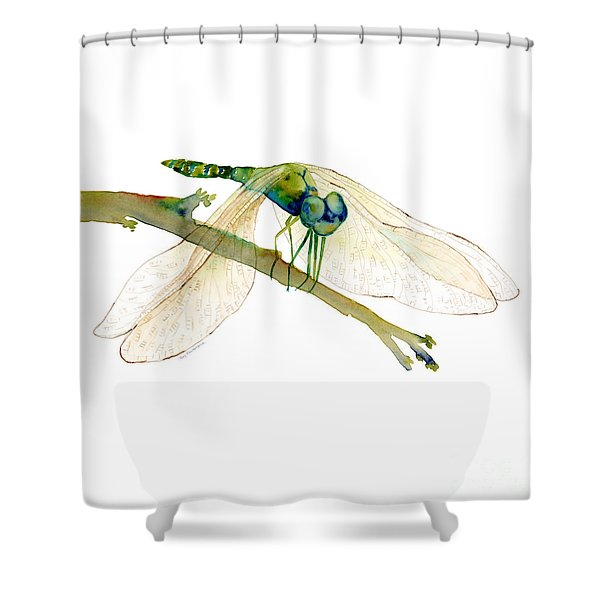 Green Dragonfly Shower Curtain