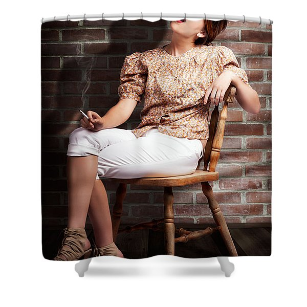 Grunge Girl Smoking Cigarette In Dark Interior Shower Curtain