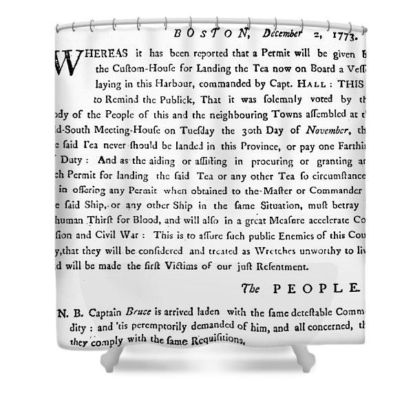 Handbill Tea Tax, 1773 Shower Curtain