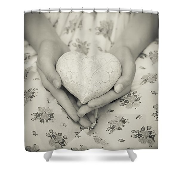Hands Holding A Heart Shower Curtain