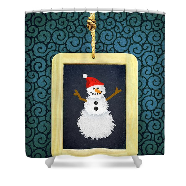 Hanged Xmas Slate - Snowman Shower Curtain