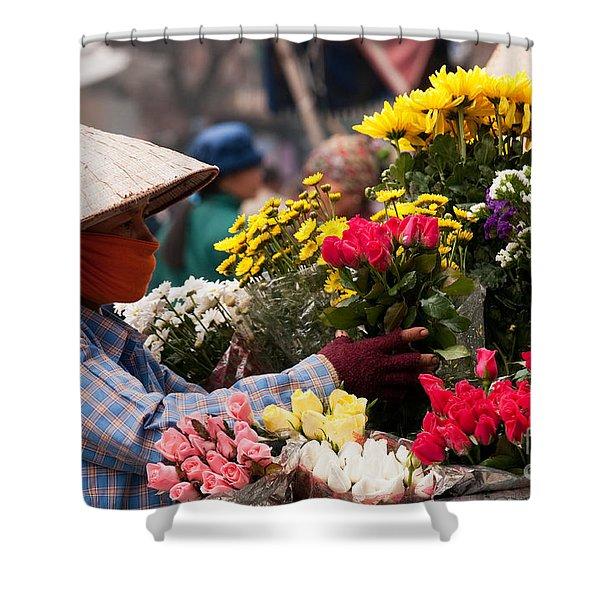 Hanoi Flowers 03 Shower Curtain