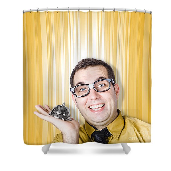 Help Desk Worker Ready To Assist With Ring Bell Shower Curtain