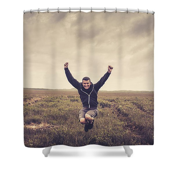 Holiday Man Jumping On Rural Australia Landscape Shower Curtain
