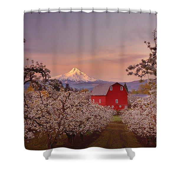 Hood River Sunrise Shower Curtain