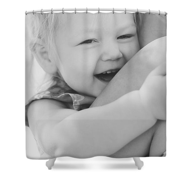 Hugging Mother And Daughter In Black And White Shower Curtain