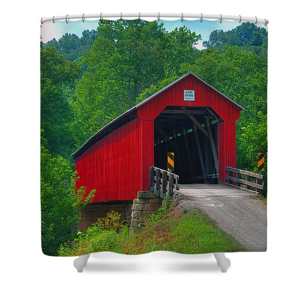 Hune Covered Bridge Shower Curtain
