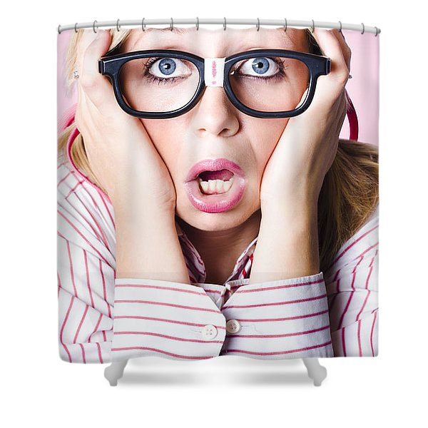 Hysterical Business Woman Having Panic Attack Shower Curtain