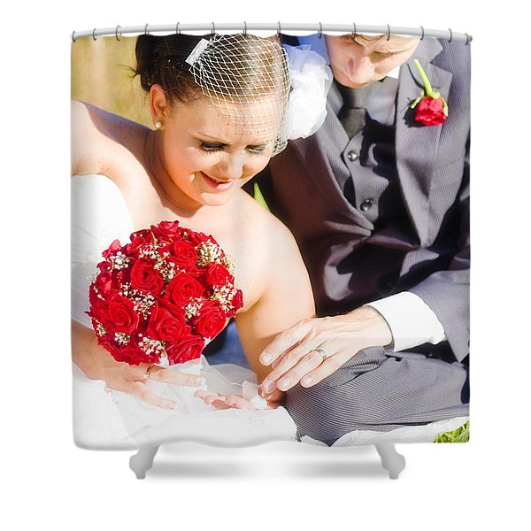 Intimate Wedding Moment Shower Curtain