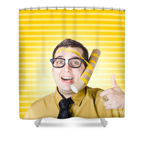Inventive Man With Innovative Handmade Phone Shower Curtain