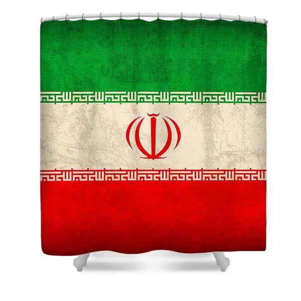 Iran Flag Vintage Distressed Finish Shower Curtain