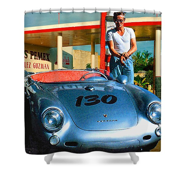James Dean Filling His Spyder With Gas Shower Curtain