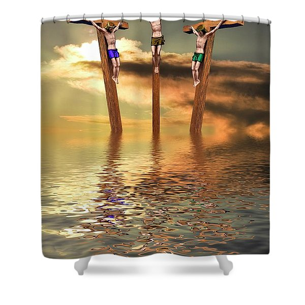 Jesus And Two Thieves On The Cross Shower Curtain