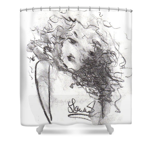 Shower Curtain featuring the drawing Just Me by Laurie Lundquist