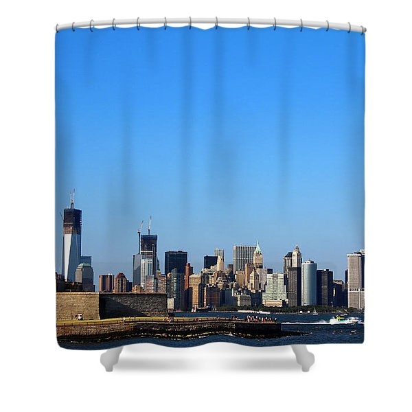 Shower Curtain featuring the photograph Lady Liberty Watches 1wtc Rise by Jemmy Archer
